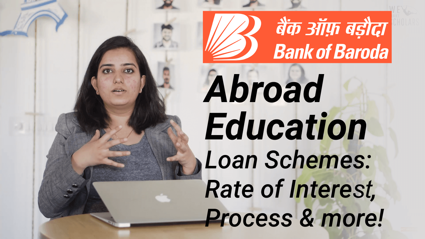 Bank of Baroda abroad education loan - 100% loan on collateral & low interest rates @9.4%  cover pic